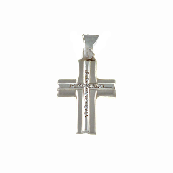 Εικόνα της MATTE  WHITE GOLD CROSS